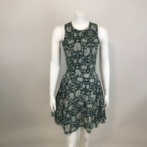H&M Sleeveless Fit and Flare Dress Green White 4